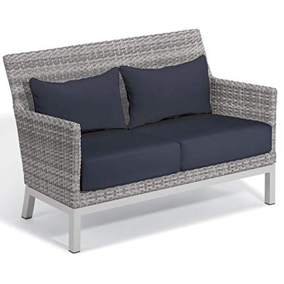 Oxford Garden Argento 6-Piece Resin Wicker Lounge & Travira Lite-Core Ash Table Set - Midnight Blue Cushion & Pillow