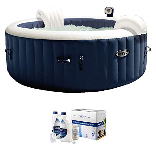 Intex PureSpa 4 Person Home Inflatable Portable Hot Tub + Water Care Kit