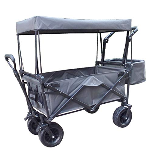 XBARV Shopping Cart Portable Utility Use Utility Carts Folding Climbing Camping Wagon Folding Garden Cart Shopping,Gray