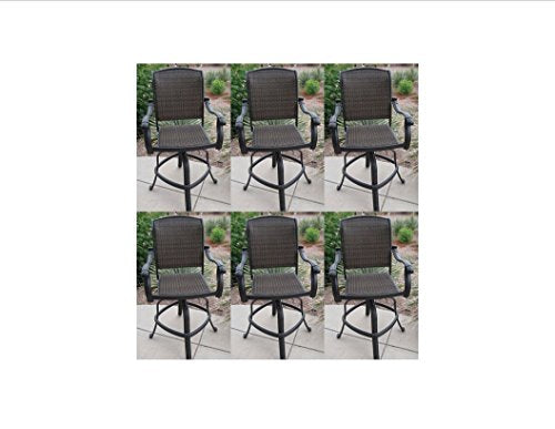 "Santa Clara Outdoor Patio Set 6pc Swivel Barstools 26"" Dark Bonze Cast Aluminum"