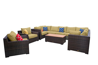Vida Outdoor VD-PACIFIC-4CS4AS2CC1CT-PALM Pacific 11 Piece Wicker Sectional Set-Palm Chair