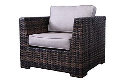 Cabana Collection Outdoor Wicker Patio Furniture Sectional Conversation Sofa Set for Backyard, Porch or Pool | No Assembly Required [CM-4120] (7 Piece Ottoman Club Lounge Set, Brown)