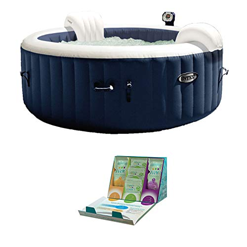 Intex PureSpa 4 Person Inflatable Hot Tub + SpaGuard 3 Month Water Softening Kit