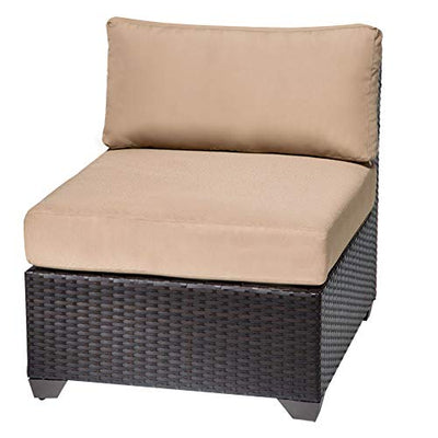 HomeRoots 7 Piece Outdoor Wicker Patio Furniture Set 07c - Wheat, Made of PE Resin with Powder Coated Aluminum Finish