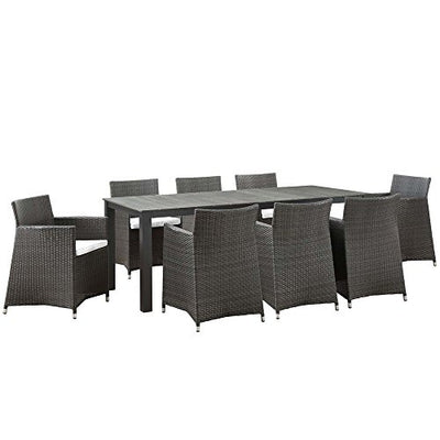 "9 PC Outdoor Patio Dining Set Dimensions: 81.5""W x 126.5""D x 32""H Weight: 231 lbs Brown White"