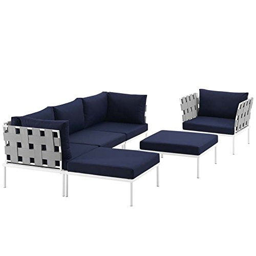 Modway EEI-2626-WHI-NAV-SET Harmony Outdoor Patio Aluminum Sectional Sofa Set, 6 Piece, White Navy