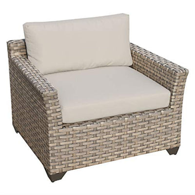 Delacora MONTEREY-08b-WHEAT Pacific West 8-Piece Aluminum Framed Outdoor Conversation Set with Storage Coffee Table and Club Chairs