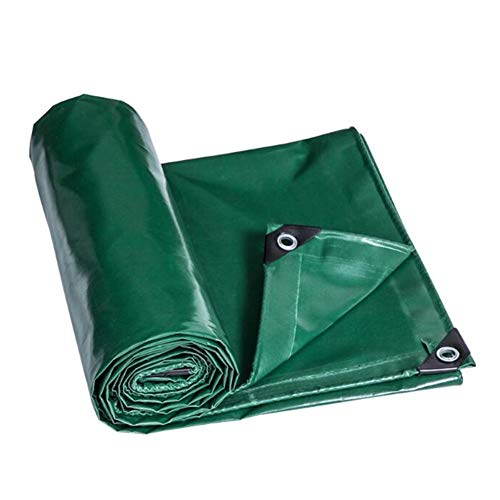 Dall Tarpaulin Waterproof Heavy Duty Sunscreen Gardening Rainproof Cloth PVC Foldable Metal Buckle Thickness 0.48mm 560G/M² (Color : Green, Size : 6×8m)