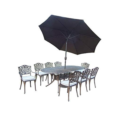 Oakland Living Corporation 11 pc Dining Set w/ 1 Oval Table, 8 Cushioned Chairs, 1 9-ft Umbrella