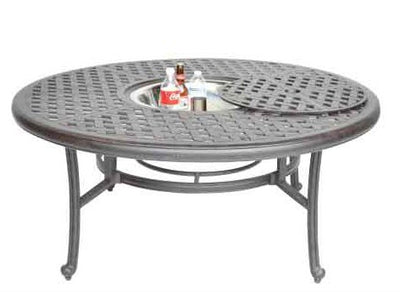 "Heritage Outdoor Living Nassau Cast Aluminum 8pc Outdoor Patio Club Chair Set with 52"" Round Ice Chest Table - Antique Bronze"