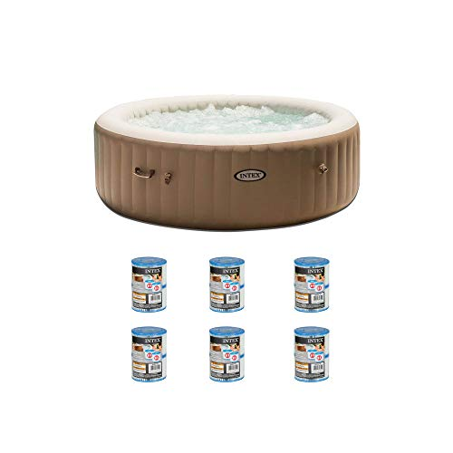Intex Inflatable Pure Spa Hot Tub & 2 Filter Replacement Cartridges (6 Pack)