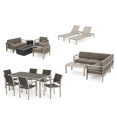 Coral Bay 17-Piece Grand Patio Sectional, Lounge, Dining Set & Firepit (Wicker Top Table)