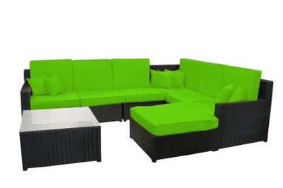 8-Piece Black Resin Wicker Outdoor Furniture Sectional Sofa, Table and Ottoman Set - Lime Green Cushions