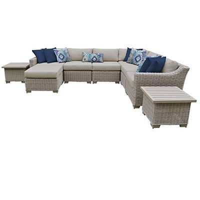 TK Classics Coast 9 Piece Outdoor Wicker Patio Furniture Set in Beige