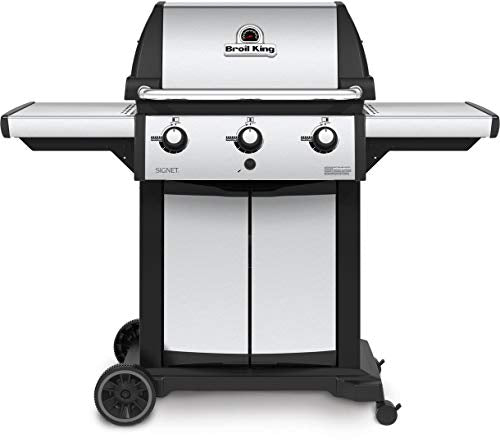 946854 Signet 320 Liquid Propane Grill with 40000 BTU Output 3 Dual-Tube Burners 400 sq. in. Grilling Surface and Deluxe Accu-Temp Thermometer in Stainless Steel
