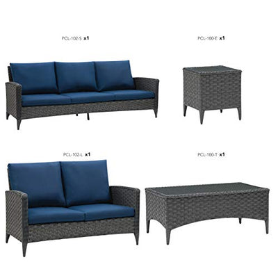 CorLiving PCL-102-Z2 4pc Wide Rattan Wicker Sofa and Loveseat Patio Set, Distressed Charcoal Grey with Navy Blue Cushions