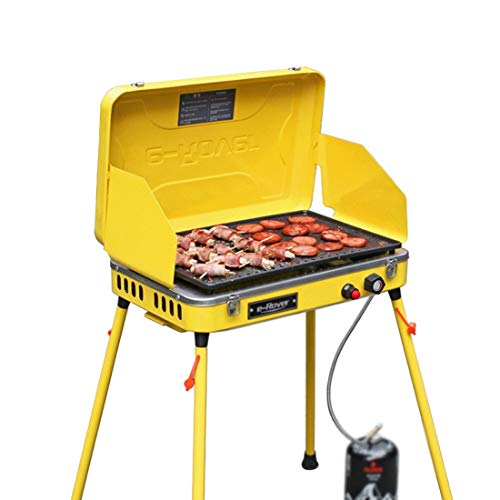 Vfdsvbdv BBQ Outdoor Grill Portable Windproof Folding with Non-Stick Fry Pan - Camping and Trailing (Color : Yellow)