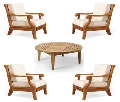 New Luxurious 5 Piece Teak Sofa Set - 4 Lounge Chairs & 1 Round Coffee Table -Furniture only --Giva Collection #WFSSGV4