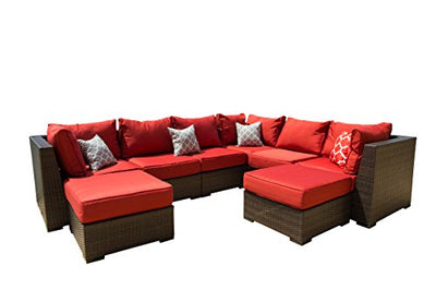 Vida Outdoor VD-PACIFIC-3CS3AS2OT-TERRACOTTA Pacific 8 Piece Wicker Sectional Set-Terracotta Chair