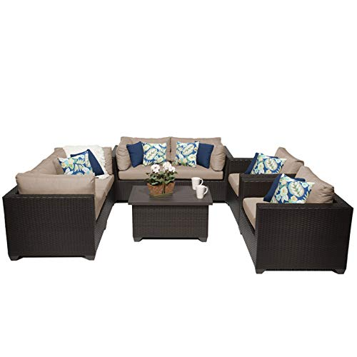 HomeRoots 7 Piece Outdoor Wicker Patio Furniture Set 07c - Wheat