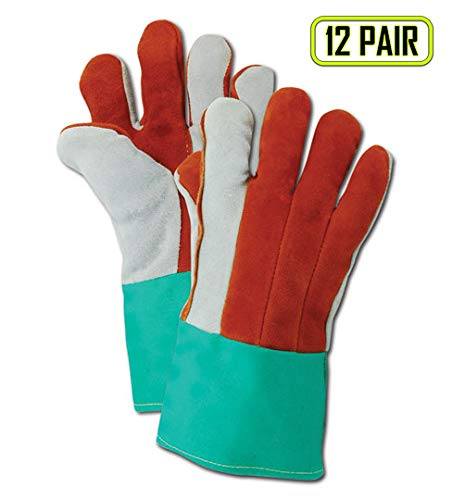 Magid Glove & Safety O432DPGW Side Split Cow Leather Heat Gloves, Leather, Size 11, Red/Green/Off White (Pack of 12)