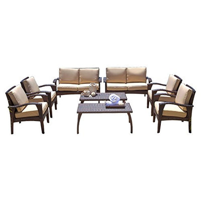 Best Selling Home Decor Furniture Ashly Wicker 8 Piece Patio Conversation Set