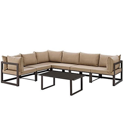 "7 PC Outdoor Patio Sectional S Dimensions: 90""W x 120""D x 32.5""H Weight: 226 lbs Brown Mocha"