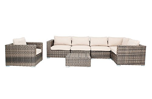 Distressed Outdoor Wicker Sectional Sofa Chair Coffee Table Patio Furniture
