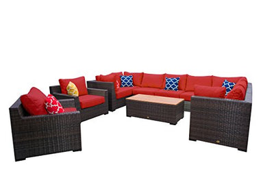 Vida Outdoor VD-PACIFIC-4CS4AS2CC1CT-TERRACOTTA Pacific 11 Piece Wicker Sectional Set-Terracotta Chair