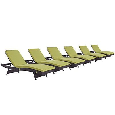 Modern Contemporary Urban Outdoor Patio Balcony Chaise Lounge Chair ( Set of 6), Green, Rattan