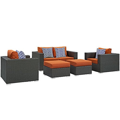 Modway EEI-2375-CHC-TUS-SET Sojourn Wicker Rattan Outdoor Patio Coffee Table, Seating for Four with Pillows, Canvas Tuscan