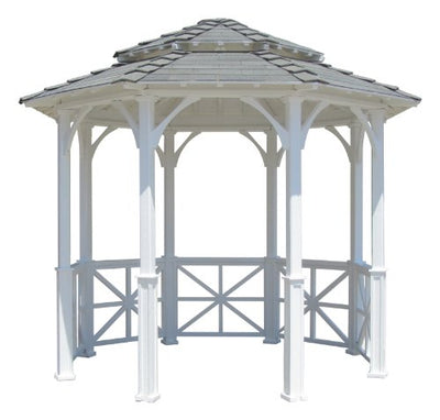 SamsGazebos 10' Octagon English Cottage Garden Gazebo with Two-Tiered Roof, Adjustable for an Uneven Patio, Made in USA