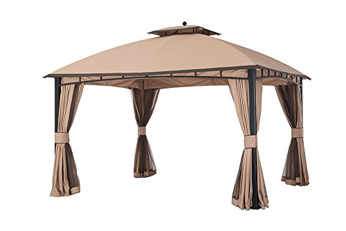 Sunjoy 12' x 10' Mirage Soft top Gazebo with Netting and Curtain, Light Brown/Dark Brown Trim