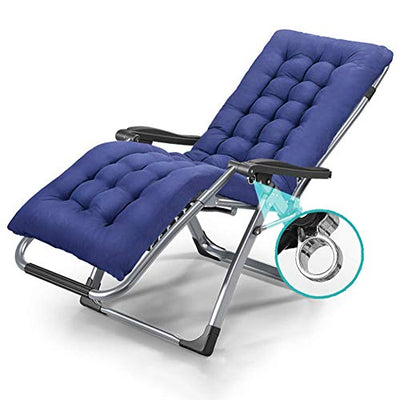 ADAHX Outdoor Indoor Deck Chair with Cushion Zero Gravity Lounge Chair Recliners with Penumatic Adjustment for Patio Pool Home Weight Capacity 330 LBS, with Removable Cushion, Blue