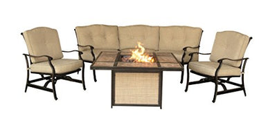 Hanover TRADTILE4PCFP Furniture 4 Piece Traditions Tile Tabletop Fire Pit Lounge Set Outdoor Furnituve, Natural Oat/Antique Bronze