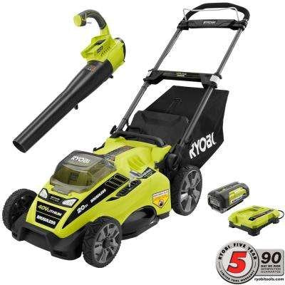 Ryobi 20 in. 40-Volt Lithium-Ion Cordless Lawn Mower with Jet Fan Blower Combo Kit