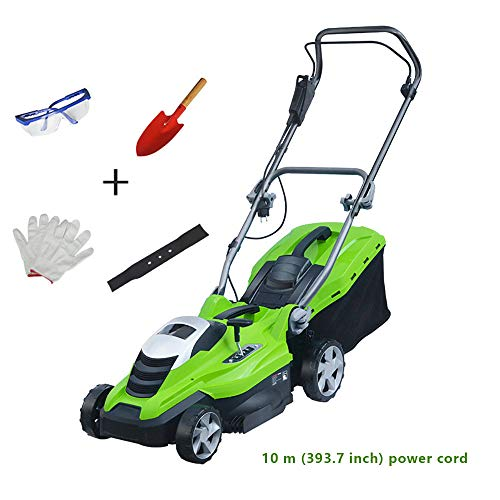 ZQKJLH Lawn Mower,1600 Watt Electric Rotary Mower, Folding, Cutting Width 36 cm, 5 Cutting Height, 45 Liter Grass Box, Garden Weeding