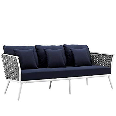 Modern Contemporary Outdoor Patio Lounge Chair, Sofa and Table Set, Fabric Aluminium, White Navy