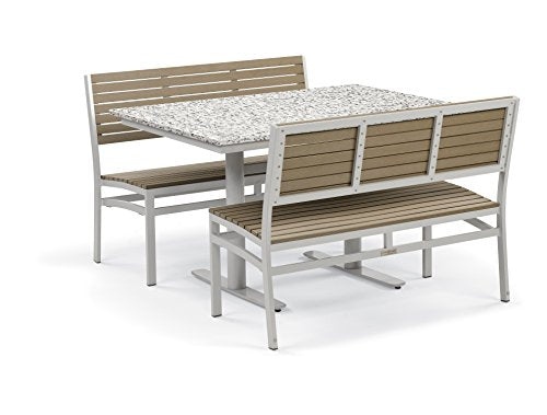 Oxford Garden 5322 Travira Light Weight Bistro Set with Table, Lite-Core Granite Ash