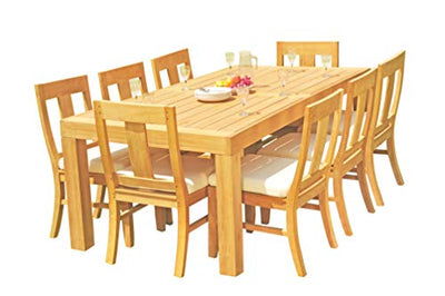 "9-pc Outdoor Teak Dining Set: 86"" Rectangle Table & 8 Osbo Armless Chairs"
