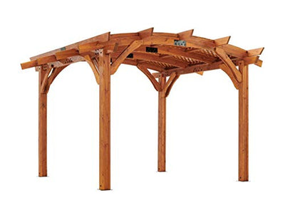 The Outdoor GreatRoom Company 12' x 12' Arched Wood Pergola with Lattice Roof in Redwood Finish