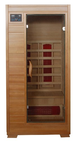 Buena Vista SA2400 1 Person Infrared Sauna with 3 Ceramic Heaters Ergonomic Back Rests EZ Touch Control Panel Recessed Interior Lighting and Sound System with CD player and AUX MP3 Connection