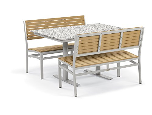 Oxford Garden 5323 Travira Light Weight Bistro Set with Table, Lite-Core Granite Ash