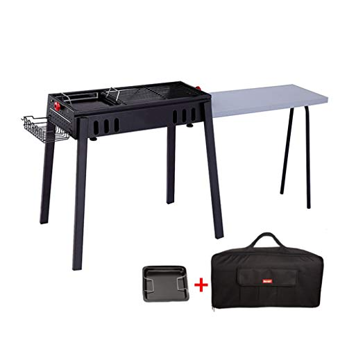 JiaJu Charcoal Barbecue Desk, Stainless Steel Outdoor Portable BBQ for Parties Picnics Camping (with Shelf)