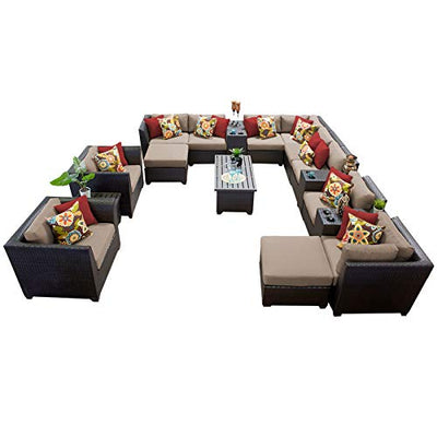 HomeRoots 17 Piece Outdoor Wicker Patio Furniture Set 17a - Wheat