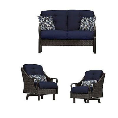 EFD 4pc Patio Set Conversation in Navy Blue 2 Chairs 1 Sofa Seat 1 Coffee Table Outdoor Patio Lawn Porch Backyard Weatherproof Waterproof Rectangular & eBook by Easy&FunDeals