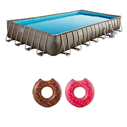 Summer Waves 32ft x 16ft x 5i2in Swimming Pool with 2 Frosted Donut Pool Floats