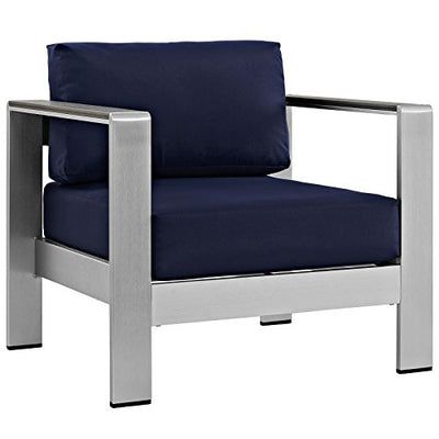 Modway Shore 4-Piece Aluminum Outdoor Patio Furniture Set in Silver Navy