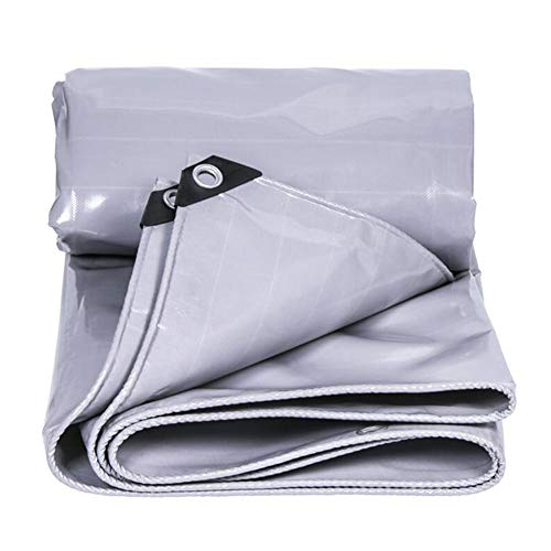 Dall Tarpaulin Waterproof Protective Cover Industrial Rain Cloth Insulation Awning Dustproof Thicken Wear-Resistant 550g\㎡ (Color : Gray, Size : 6×8m)