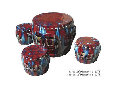 Chinese Red Clay Round Garden Tea Set - 5 Pieces Awk2268